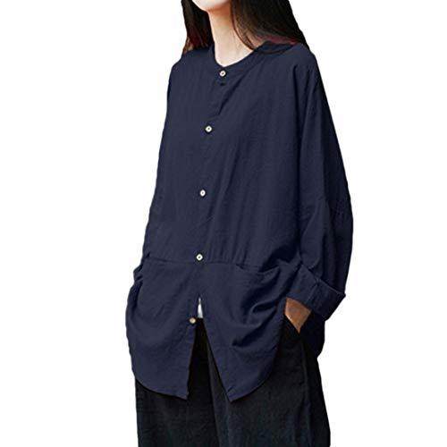 (Spriteman Einfarbig Bluse, Damen Retro Lange Ärmel Beiläufig Lose Taste Mini-Shirt Aufdecken Bluse Hemd Top Modisch T-Shirt Oberteile Mantel Sweatshirt Pullover(Dunkelblau,M))