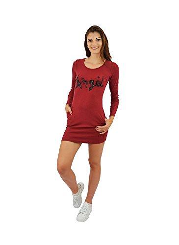 Robe T-shirt Manches Longues Rouge Bordeaux Bordeaux