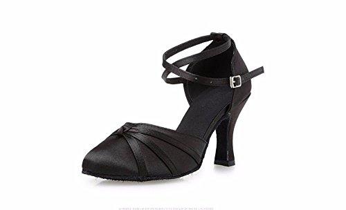 SQIAO-X- Baotou latino scarpe da ballo, adulti in autunno e inverno Square Dance scarpe, High-Heeled scarpe da ballo donna terreno morbido Nero 8cm (base in plastica)