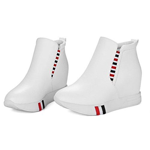 ENMAYER Femmes PU Matériel Casual Round Toe Plate-forme Wedge Heel Hauteur Augmenter Slip sur les Chaussures Blanc