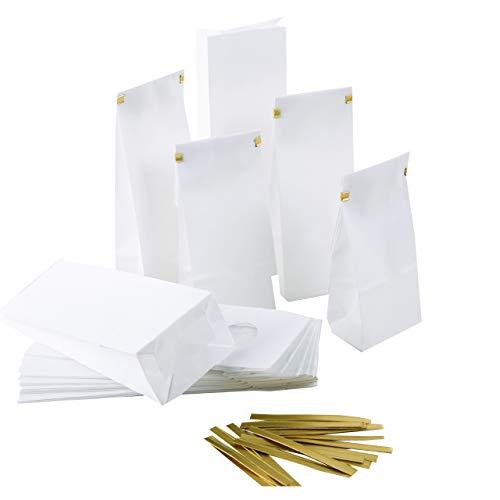 Logbuch-Verlag 25 kleine weiße Papiertüten Blockbodenbeutel + Clips lebensmittelecht Papierbeutel mit Boden 7 x 4 x 20,5 cm Verpackung Gastgeschenk Mitgebsel