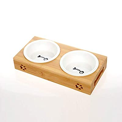 ZRYJWG Pet Bowl, Raised Double Pet Bowls, Non-Slip Food Water Feeder made of bamboo wood and ceramics Fit for small and medium dogs, cats by ZRYJWG