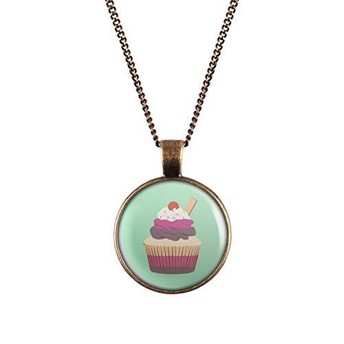 Mylery Hals-Kette mit Motiv Cup-Cake Kuchen Kirsche Waffel Bronze 28mm
