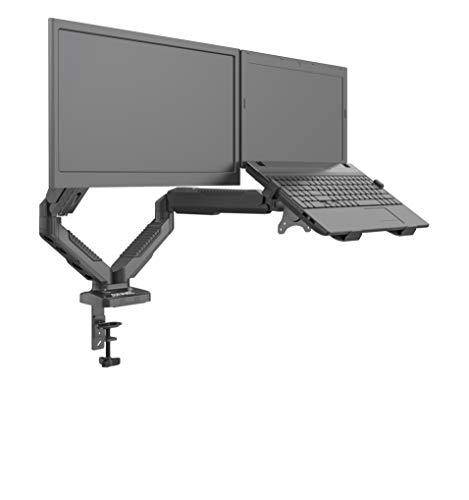 Duronic DMDCL1X1 Support écran PC pour Bureau à Pince avec Support Ordinateur Portable - Ajustement omnidirectionnel à la volée grâce au mécanisme à gaz - Rotatif/Inclinable/Pivotable