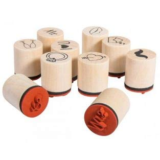 Rayher Hobby 68100000 Set 10 Mini-Holzstempel Marry, 2,5cm, 2cmø, Motive zum Thema Liebe/Hochzeit zum Gestalten von Einladungen, Karten... Motivstempel Cmos 2,5
