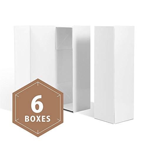 PACKHOME Weinkiste Wein-Geschenk-Box Flasche Geschenk-Box Likör-Geschenk-Box Champagner Geschenk-Boxen Magnetverschluß Faltbare Geschenkboxen für eine Flasche 6 Boxes White