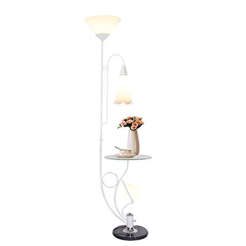 KXBYMX KXBYMXNachttischlampe Eisen Stehlampe, moderner minimalistischer Stil Lampenständer [Energieklasse A +++] (Farbe : Weiß, größe : Weiß Lampshade)