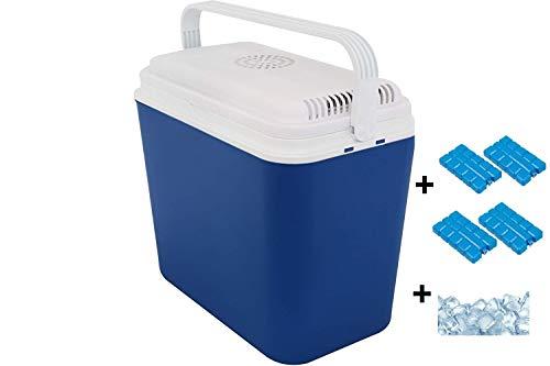 Interior WA52V elektrische Kühlbox, Mini Kühlschrank 22 L fürs Auto, Thermoelektrischer Autokühlschrank Campingbox mit 12 V Anschluss, Minikühlschrank, EEF A+, inkl. 4 Kühlakkus+ 1,5kg Kühlsalz