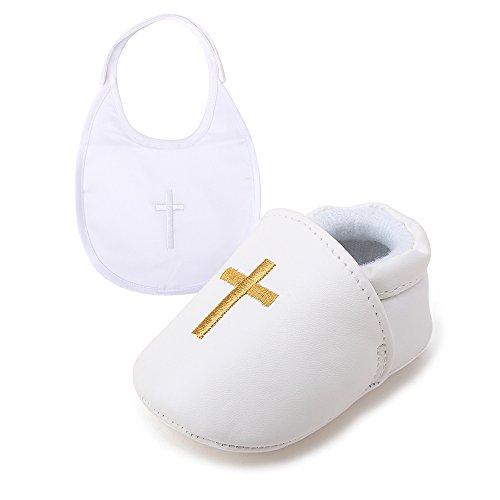 DELEBAO Baby Taufe Schuhe Babyschuhe Taufschuhe Lauflernschuhe Kinderschuhe Weiß Weiche Sohle Leder PU Kleinkind (Schuhe-1&Lätzchen,3-6 Monate)