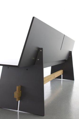 Conmoto Tension – Bank mit Rückenlehne 76 x 220 x 57 cm HPL weiss – Traverse aus Teak – ohne Auflage – Outdoorbank – Gartenbank - 3