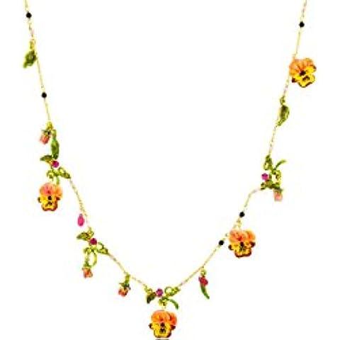 Las joyas Néréides Collar glaseado, el pensamiento de oro fino, diseño de gradiente, color rosa