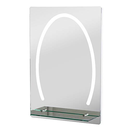 kleankin LED Badezimmerspiegel Badspiegel mit Beleuchtung Glas-Ablage 30W 70x50cm