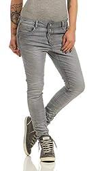 Fashion4Young 11407 LEXXURY Damen Jeans Röhrenjeans Hose Boyfriend Baggy Haremscut Damenjeans (grau, S-36)