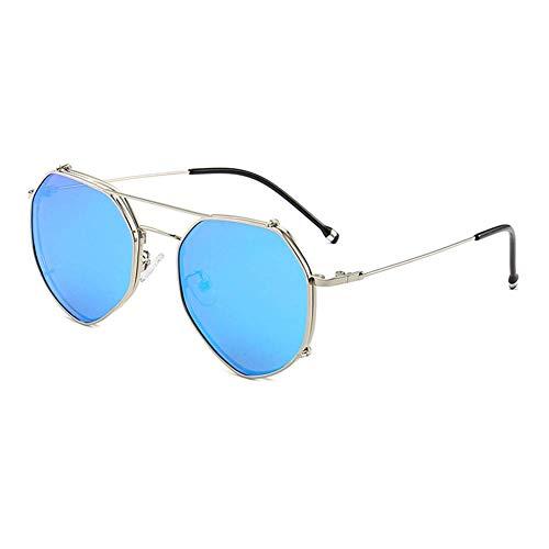 EYEphd Unisex-Brillengestell mit quadratischem Retro-Design - Sonnenbrille mit aufsteckbarem V400-Schutz und durchsichtigen Over-The-Counter-Gläsern für Freizeit und Urlaub,SilverFrame/IceBlueClip -