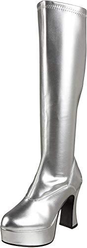 GoGo PLATEAU STIEFEL Stretchlack silber Gr. 38 (US 8)