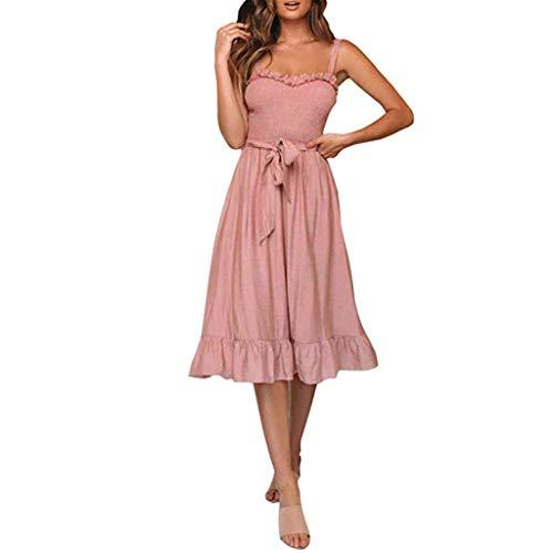 iYmitz Damen Kleider Elegant ärmelloses Rüschenkleid mit Spaghettiträger Frauen Feste Schulterfreies Knielang Kleid(Rosa,EU-36/CN-M)
