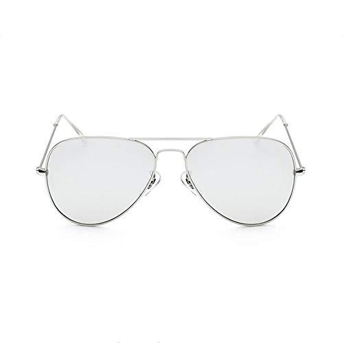 Szblk Sonnenbrillen Driving Sonnenbrillen Sun Mirror Metal Sonnenbrillen Angeln Sonnenbrillen Fashion Retro Dual-Use-Spiegel (Color : Silver)