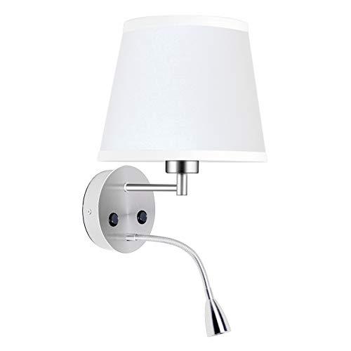 BarcelonaLed Aplique Lámpara LED de Pared para Bombilla E27 con Foco de Luz de Lectura Orientable Flexible...