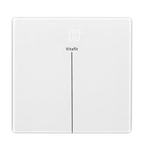 Vitafit Digitale Personenwaage Waage Körperwaage Gewichtswaage mit Helle LED Anzeige,Hochpräzisions-Sensoren und gehärtetem Weiss Glas,5kg-180kg, Elegante weiß