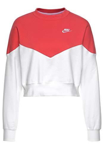 a8293a29c5 Nike W NSW HRTG Crew FLC T-Shirt à Manches Longues Femme, Ember Glow