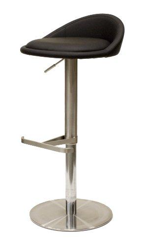 Tenzo 3345-824 Chill - Designer Barhocker, Lederoptik, Edelstahluntergestell, höhenverstellbar, 65-90 x 45 x 43 cm, schwarz