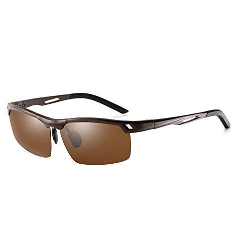 Mens Sports Half Frame Angeln Reiten Classic Vintage BrilleAl-Mg-Legierung polarisierte treibende Sonnenbrille Brille (Color : Braun, Size : Kostenlos)
