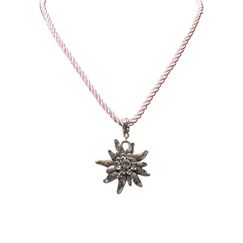 Alpenflüstern Damen Kordel-Trachtenkette Strass-Edelweiß rosa DHK10000029