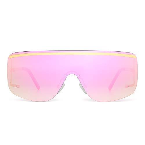 JIM HALO Oversized Schild Sonnenbrille Flach Top Gradient Linse Randlos Brille Damen Herren(Gold/Gespiegelte Rosa)