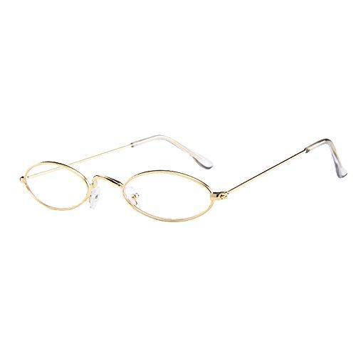 Lazzboy Herren Damen Retro Kleine Ovale Sonnenbrille Metallrahmen Shades Eyewear Unisex Reise Für Brillen Katzenauge Metall Rand Rahmen Frau Sonnebrille Gespiegelte Linse Sunglasses(C)