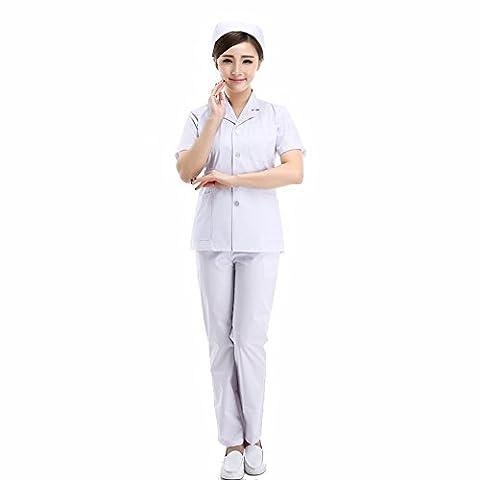 Xuanku Les Femmes Médecins Split Blouse Blanche Courte Et Longue Pochette De Vêtements Et Service Infirmier Service Expérimental,M,Costume D'Été À Manches Courtes