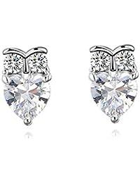 f9aa1b485952 Daesar Pendientes de Mujer Corazón Cristal Pendientes de Mujer Plata  Pendientes Chapado en Platino