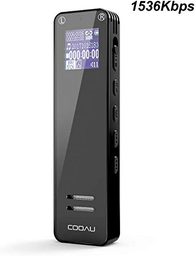 Registratore vocale digitale 1536 kbps, cooau registrazione hd da 8 gb con clip posteriore, registratore audio ricaricabile portatile, riproduzioni mp3, è adatto per conferenze, concerti, lezioni