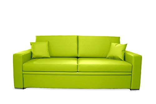 Ponti Divani - BLACK - Divano letto singolo con letto estraibile Ecopelle Verde Rete a doghe larghe e Materasso sfoderabile