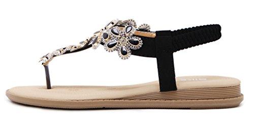 T Donne fiore cinghia Adatti sandalo JDS piatta Fortunings Nero strass perline Per cinturino SFBxqX