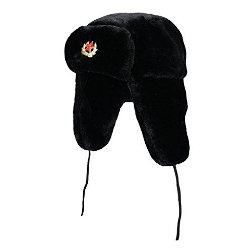 Gorra de esquí para hombre estilo Ushanka rusa, de pelo de imitación, para invierno Negro negro Taille unique