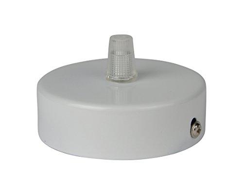 Deckenbaldachin aus Edelstahl (matt Weiß), 80x25 mm incl. Zugentlastung Klemmnippel (Standard m10 Gewinde) zur Lampenaufhängung an der Decke(Deckenrosette / Baldachin). Anzahl: 1 Stück