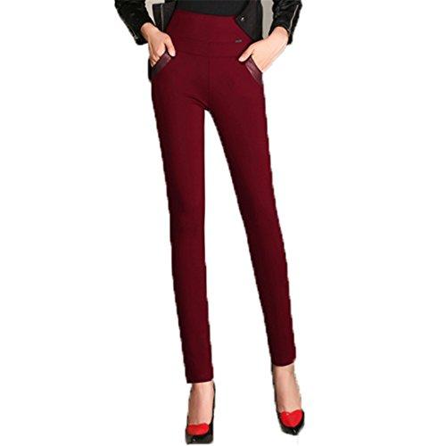 Autunno Inverno Donne Magro Ansimare Più Velluto Spesso Vita Alta Modifica Pantaloni A04: vino rosso
