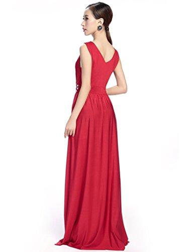 medeshe femmes robe de demoiselle d'honneur Longueur au sol Violet Cadbury Party Maxi robe red