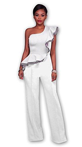 Honeystore Damen's Ärmellos One Shoulder Cocktailkleid Bodycon Partykleid Lang Abendkleider Weiß (Kostüme Sie Mieten Online)