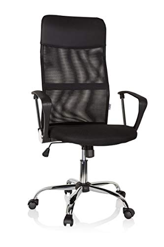 hjh OFFICE 621900 Home-Office Büro Drehstuhl Pure NET Stoff Schwarz Schreibtischstuhl mit hoher Netz-Rückenlehne