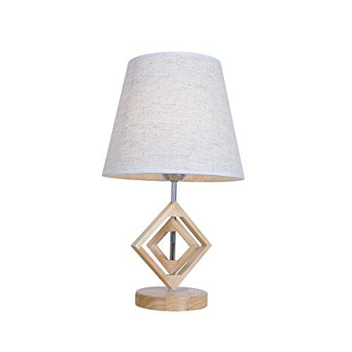 SB-61369, Nordic Simple Tischleuchten, Round Linen Fabric Shade Tischleuchte, Square Oak Body Schreibtischleuchte für Wohnzimmer, Schlafzimmer, Arbeitszimmer, Hotel