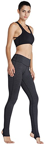 KomPrexx Sport Leggings Damen Mesh Fitness Yoga Training Gym Tights Lang Trainings Workout Sporttights 14K.Grau