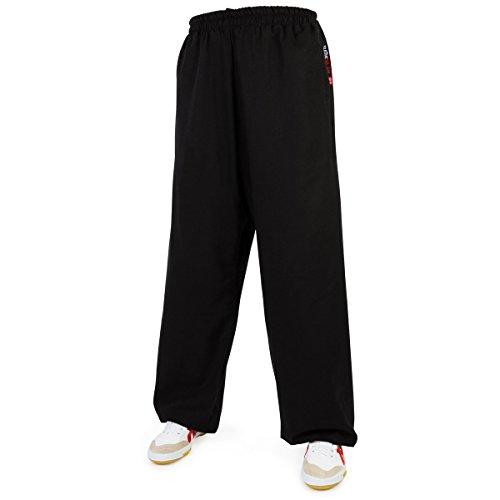 Leinen (mittel) Trainingshose - Kung Fu - Wushu - Tai Chi - Taiji - Martial Arts - Hose - Sport - Yoga - Freizeit - schwarz - 195 (Hose Gewaschenes Leinen)