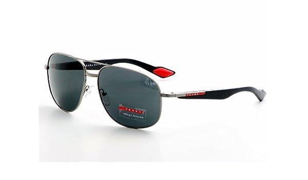 95bc887a648 Prada Sps 50M 5Av1a1 Silver Gun Metal Sunglasses  Amazon.co.uk  Clothing