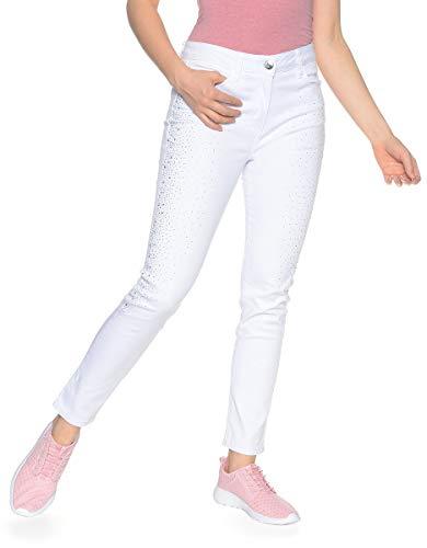 VIVENTY BERND BERGER by Adler Mode Damen 5-Pocket-Jeans mit Edler Steinchen-Dekoration - Jeanshose, Denimjeans, Hose, Jeans Weiß 46 -