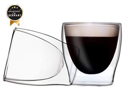 2x 80ml doppelwandige Gläser, Espressogläser, Thermogläser - Set mit Schwebe-Effekt, auch für türkischen Tee geeignet, DUOS by Feelino