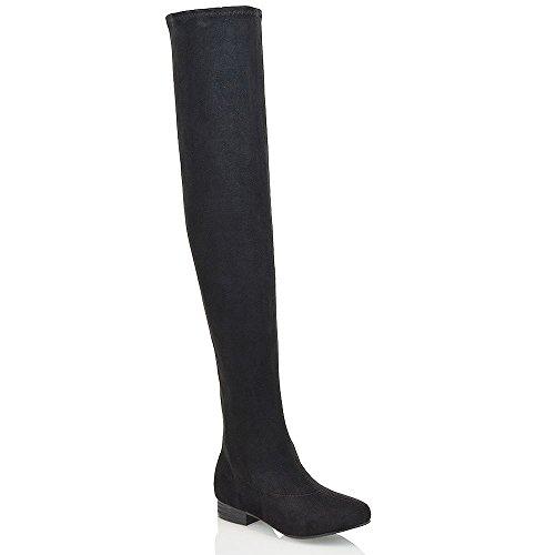 Essex Glam Frauen Denbare Oberschenkel hoche Schwarz Wildlederimitat Stiefeln (Graue Flache)