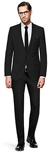 PABLO CASSINI Herren Anzug Fine Art - 3 teilig - Schwarz Smoking Ein-Knopf Hochzeit Business PCS_1 (110) (Drei-knopf-anzug Individuelle Passform)