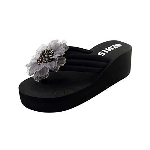 Señoras de Las Mujeres Flores de Verano Inicio Playa Zapatos Sandalias Chanclas Chanclas SEXYYE Toe Sandalias Sandalias Zapatos Playa Zapatos casa/Gray1,37