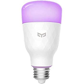 Yeelight Smart LED Light Bulb,16 Million Colors E27 10W 220V RGB Dimmable 800lm Wi-Fi Bulbs, Compatible with Alexa, Google Assistant (Multi-Colored)